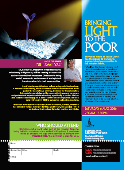 Bringing Light to the Poor, 6 August2016